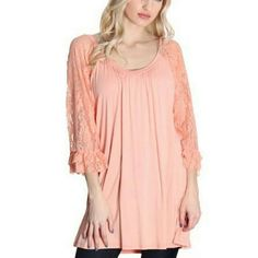 Gorgeous lace blouse. This is a gorgeous coral lace sleeved blouse Tops Blouses