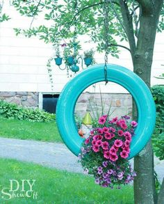 Tire swing planter