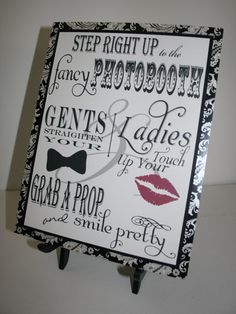 Items similar to Photo Booth Wedding Sign in Black & White - Favor - Strike a Pose - Grab a Prop - Bow Tie - Red Lipstick on Etsy Beach Wedding Favors, Wedding Ties, Rustic Wedding, Our Wedding, Dream Wedding, Diy Wedding Photo Booth, Drink Signs, Wedding Catering, Sign Printing