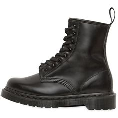 DR.MARTENS 30mm Core 1460 Monochrome Leather Boots (310 CAD) ❤ liked on Polyvore featuring shoes, boots, black, low heel shoes, low heel boots, rubber sole shoes, low heel leather boots and black shoes