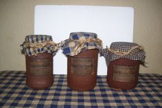 primitive jars I finished up. <3 Changing my kitchen and dining room to the navy blue primitive style. :)