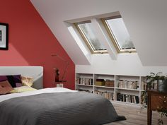 Fill your home with light by installing a Velux or Fakro roof window. Attic Master Bedroom, Attic Rooms, Attic Spaces, Bedroom Blinds, Blinds For Velux Windows, Tiny Living Rooms, House Blinds, Ideas Para Organizar, Kitchens And Bedrooms