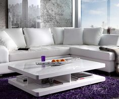 Couchtisch Pocket 120x80 cm Weiss Hochglanz 4 Fächer Möbel Tische Couchtische