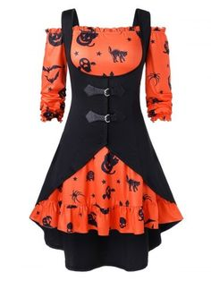 OFF] 2019 Plus Size Off The Shoulder Pumpkin Print Halloween Vintage Dress . - Plus Size Fashion & Dress Halloween Outfits, Halloween Prints, Halloween Dress, Halloween College, Halloween Couples, Halloween Diy, Halloween Costumes, Halloween Makeup, Teen Costumes