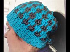 Gorro coletero a crochet messy bun hat #tutorial #paso a paso - YouTube