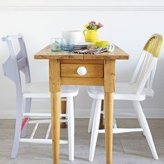 Small dining room with slimline table and painted chairs   Small dining room ideas   housetohome.co.uk