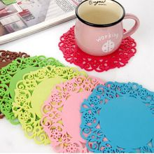 6Pcs Lace Flower Doilies Silicone Coaster Coffee Table Cup Mats Pad Placemat Kitchen Accessories Cooking Tools(China (Mainland))