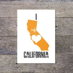 I Love CALIFORNIA  love heart US state map by PaperPaper on Etsy, £8.50