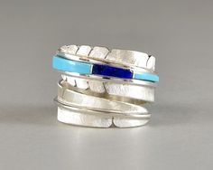 Inlay Feather Ring (Turquoise & Lapis Lazuli) | Michael Kirk | Native Artist | 製品案内 | FUNNY : ファニー