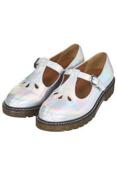TOPSHOP GRACIE HOLOGRAPHIC WHITE T BAR BUCKLE SHOES SANDALS 36 37 38 39 40 41