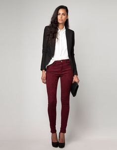 Burgundy, black and white...Nice combination