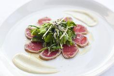 Food - Entree Seared Yellowfin tuna with black sesame seeds, wasabi mayonnaise & snowpea salad