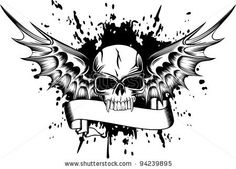 Vector image skull with wings and patterns by SS1001, via Shutterstock