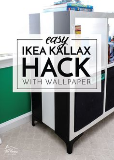 Try this easy IKEA Kallax Hack! Use peel-and-stick wallpaper and stylish feet to give your basic cube shelves a stylish makeover! Diy Furniture Easy, Diy Furniture Projects, Furniture Makeover, Ikea Kallax Unit, Cube Shelves, Decorating Tips, Wallpaper Furniture, Wallpaper Ideas, Diy Ideas