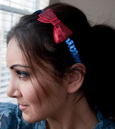 Wonder Woman Red sequin bow on blue sequin headband by EyeHeartMe on Etsy, $16.00