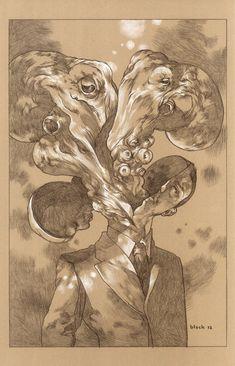 Surrealistic drawings by Steven Russel Black - Bleaq Cthulhu, Monochromatic Art, Lovecraftian Horror, Octopus Art, Man Illustration, Surreal Art, Dark Art, Cool Art, Nice Art