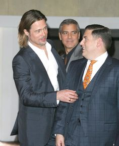 Brad Pitt, George Clooney and Jonah Hill at Academy Awards luncheon