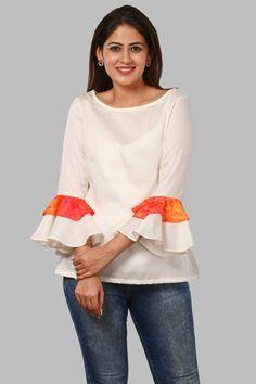 Off-White Double Ruffle Sleeves Top Short Tops, Long Tops, Girls Top Design, Short Kurti Designs, Crochet Top Outfit, Sleeveless Coat, Western Tops, Tie Crop Top, Ruffle Sleeve