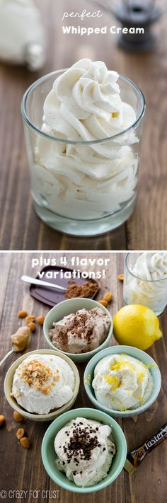 perfect whipped cream plus flavor variations.