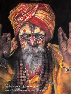 Sadhu, pastel sec sur pastel mat, format 70 x 50 cm Pastels, France, Painting, Painting Art, Paintings, Painted Canvas, Drawings, French