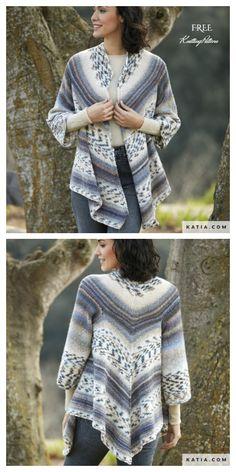 Free Knitting Patterns For Women, Sweater Knitting Patterns, Knitting Designs, Knitting Sweaters, Cardigan Pattern, Baby Cardigan, Knit Poncho, Calvin Klein Pullover, Vogue Knitting