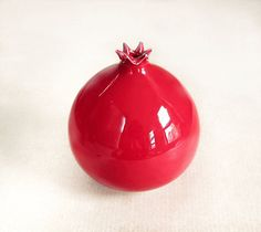 IN STOCK Red Round Pomegranate Vase / Handmade by blueroompottery, $28.00
