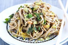 Soba noodles in green curry.