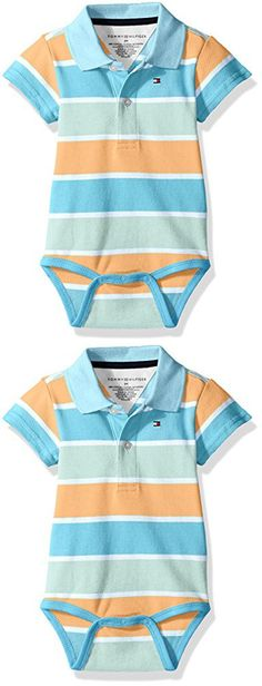Tommy Hilfiger Baby Boys' Short Sleeve Striped Shaun Bodysuit, Cup Coral, 6 Months