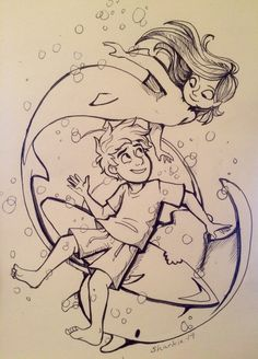 """sharkie-19: """" Inktober 13. I was short on ideas and time today, so I redid my first Noah and Vera drawing. """""""