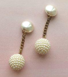 Vintage Pearl Ball Tassel Earrings from Candy Shop Vintage