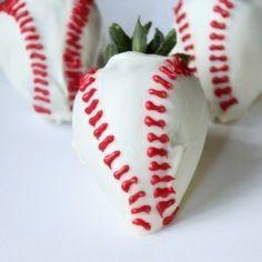 White chocolate covered strawberries in baseball design