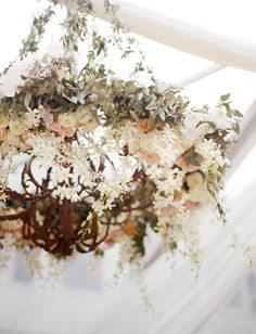 Floral Chandelier over dance floor (in same purples/blush/rustic greens palette) Rustic Wedding, Chic Wedding, Dream Wedding, Flower Cafe, Outdoor And Country, Flower Chandelier, Event Design, Wedding Details, Flower Arrangements