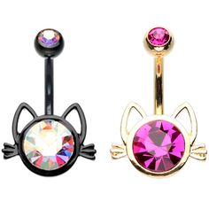 BodyDazz.com - Cat Face Non-Dangle Belly Ring, $7.99 (http://www.bodydazz.com/cat-face-non-dangle-belly-ring/)
