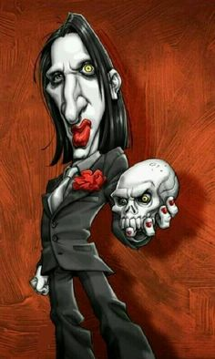 Marilyn Manson Drawing Stars, Celebrity Caricatures, Funny Caricatures, Caricature Artist, Poster Pictures, Funny Pictures, Funny Cartoons, Rock Art, Sculpture