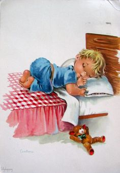 Constanza- This picture was in my room when I was baby, now it's in the room of… Vintage Cards, Vintage Postcards, Vintage Images, Good Night Sweet Dreams, Dream Art, Baby Cards, Big Eyes, Cute Cards, Vintage Children