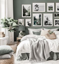 Nature inspired gallery wall green bedroom black white posters oak frames - Gallery wall inspiration - Posterstore.com Green And White Bedroom, Green Bedroom Walls, Black White Bedrooms, Green Bedroom Decor, White Wall Bedroom, Gallery Wall Bedroom, Bedroom Black, Green Rooms, Room Ideas Bedroom