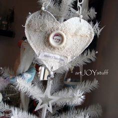 Santa baby - fabric sewn Christmas heart remnant  hanging decorations ornaments art - 300