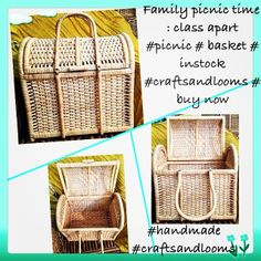 Picnic Basket Instock, Handmade Cane product. Contact us at creative@craftsandlooms.com , single to bulk orders - ready.