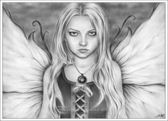 Dark Fairy by Zindy Nielsen * Fairy Myth Mythical Mystical Legend Elf Fairy Fae Wings Fantasy Elves Faries Sprite Nymph Pixie Faeries Hadas Enchantment Forest Whimsical Whimsy Mischievous Coloring pages colouring adult detailed advanced printable Kleuren voor volwassenen coloriage pour adulte anti-stress kleurplaat voor volwassenen Line Art Black and White