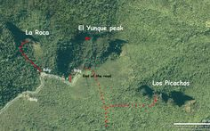 Below: Satellite view of the three trails to the peaks.  Info.: Elena