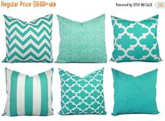 15% OFF SALE Outdoor Pillow Covers Aqua by CastawayCoveDecor