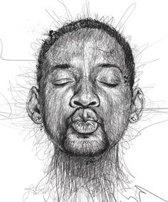 Faces, Celebrity Portraits Made from Scribbled Lines by Vince Low | Will Smith