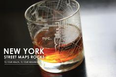 NYC Street Maps Rocks For Dad