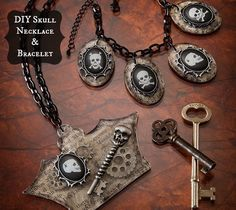 DIY skull necklace and bracelet