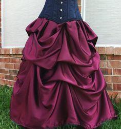 Elegant Belle Victorian Steampunk Gothic Bustle Ballgown Skirt BURGUNDY $49.99