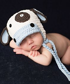 Look what I found on #zulily! Baby Blue & White Cow Earflap Beanie by Melondipity #zulilyfinds