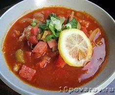 Солянка с вареной и копченой колбасой Chili, Soup, Recipes, Chili Powder, Rezepte, Chilis, Food Recipes, Soups, Recipies