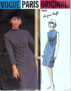 1960s Vogue Paris Original Dress Pattern  Vogue 1464 Jacques Griffe Designer High-Waisted Drawstring Dress  Bust 32 on Etsy, $47.76 AUD
