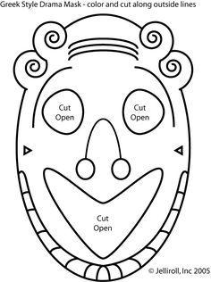 greek masks coloring 3 231x300 Greek Masks, Printables and