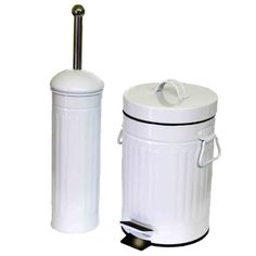 SIDCO® Bad Set Toilettenbürste WC Bürste Kosmetikeimer Mülleimer 3 l Metall Wc Set, Canning, Bathroom, Shop, Household, Full Bath, Metal, Deco, Washroom